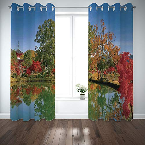 SCOCICI Grommet Polyester Window Curtains Drapes [ Home Decor,Japanese Garden Colorful Trees Ancient Temple Lake Landscape Zen Nature Peace Decor,Multi] Living Room Bedroom Kitchen Cafe from SCOCICI