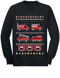 Firetrucks Firemen Ugly Christmas Sweater Toddler/Kids Long Sleeve T-Shirt