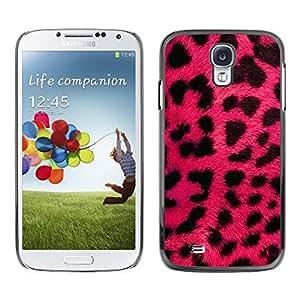 FECELL CITY // Duro Aluminio Pegatina PC Caso decorativo Funda Carcasa de Protección para Samsung Galaxy S4 I9500 // Pink Leopard Fur Pink Black Animal Pattern