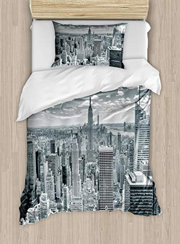 Ambesonne New York Duvet Cover Set Twin Size, NYC Over Manhattan from Top of Skyscrapers Urban Global Culture City Panorama, Decorative 2 Piece Bedding Set with 1 Pillow Sham, Grey