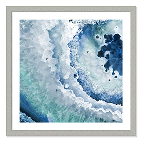 (Casa Fine Arts Agate Blue And Turquoise II Modern Geode Crystal Archival Art Print, 31