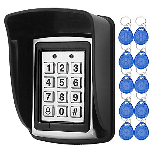 LIBO Waterproof Access Control Keypad Proximity RFID Controller, Suitable for Single Door Entry System, Support 1000 Users, Including 10pcs 125KHz RFID Keyfobs with Rainproof Cover ()