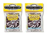 Dragon Shield Bundle: 2 Packs of 50 Count Japanese Size Mini Card Sleeves - Clear