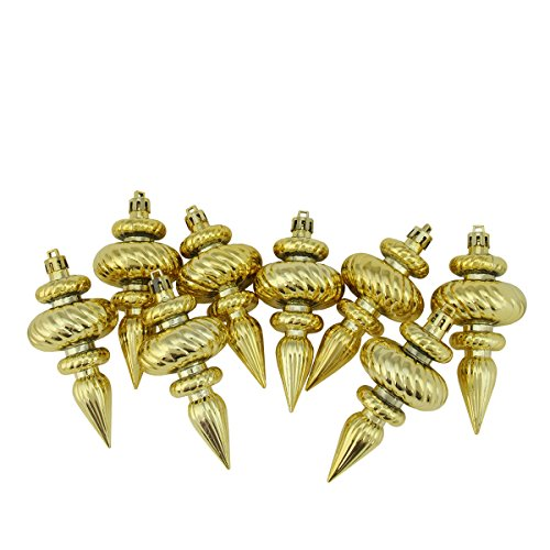 Northlight 8ct Shiny Gold Swirl Shatterproof Christmas Finial Ornaments 4.25