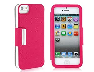 Wrui Plastic & PU Leather Flip Case for iPhone 5 (Red)