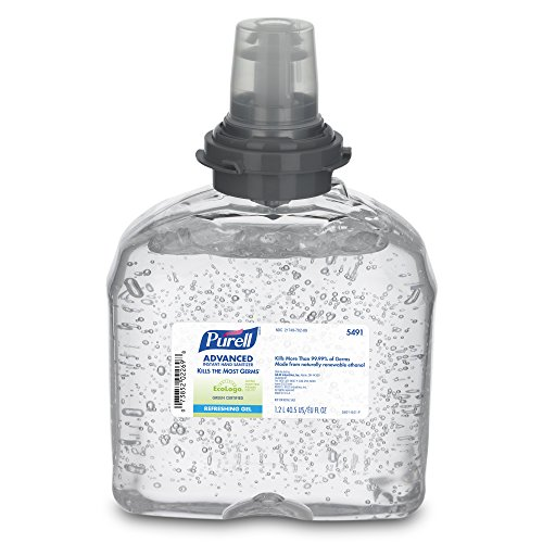 PURELL TFX Advanced Green Certified Hand Sanitizer Gel, Fragrance Free, 1200 mL EcoLogo Certified Sanitizer Refill for PURELL TFX Touch-Free Dispenser (Case of 4) - 5491-04