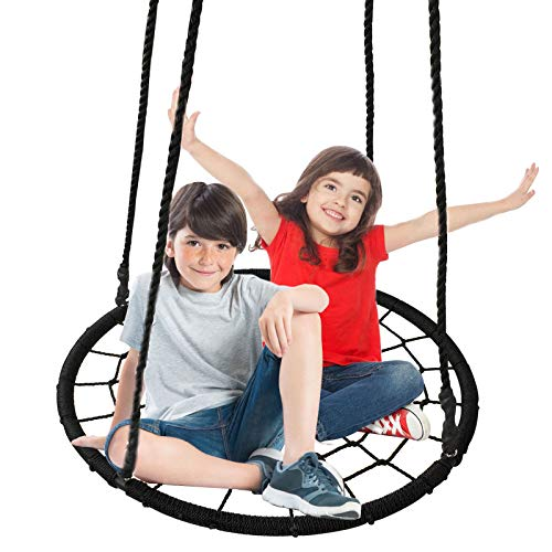 ZENY 40'' Kids Round Spide Web Swing Outdoor Tree Swing Seat with Adjustable Hanging Rope Kit,Great for Tree,Playground,Playroom (40'' Web Swing) (Best Lies To Tell Parents For Money)