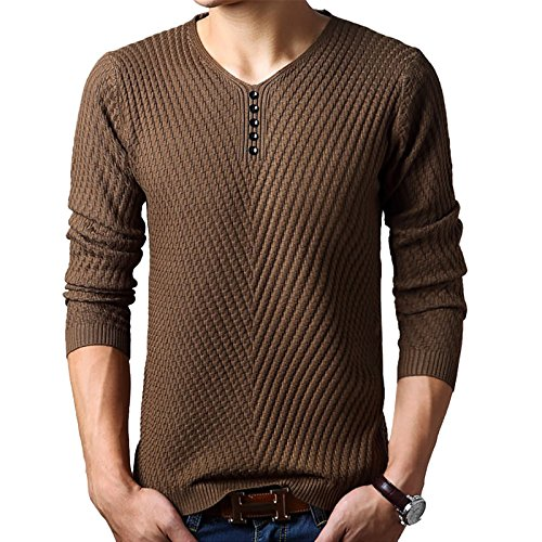 WSLCN Men#039s VNeck Long Sleeve Jumper Pullover Sweater Cable Stitch Coffee US M Asian XL