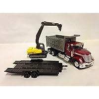 "New Ray Toys International Lonestar, Dump Truck w/Excavator 1:43 Scale 18"" DIECAST 16623 RED"