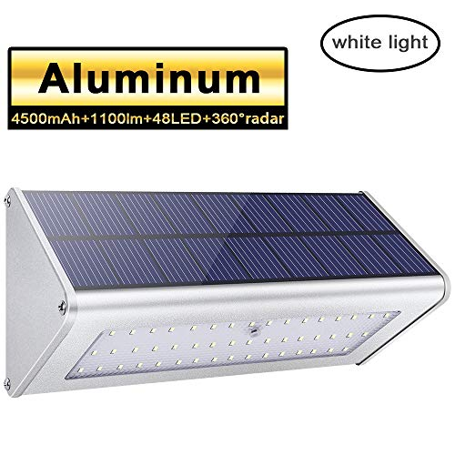 Licwshi 1100 Lumens Solar Light 48 LED 4500mAh Waterproof Outdoor Aluminum Alloy Housing, Radar Motion Sensor Light for Step, Garden, Yard, Deck -White Light(1 Pack)
