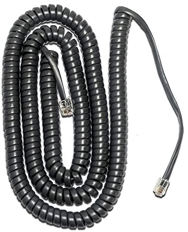 """Cablesys Black Glossy 12 Ft Phone Handset Cord Telephone Coil 4P4C 4/"""" Tail Lead"""
