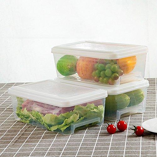 QFFL shounahe Refrigerator Rectangle Drawer Type Storage Box/Kitchen Plastic Food Crisper/Large Capacity Classification Finishing Box/Lidded Freezer Box (A Pack of 3) (Color : C)