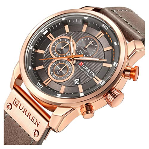 Mens Leather Strap Watches Stainless Steel Classic Casual Dress Waterproof Chronograph Date Analog Quartz Watch (Rose Gold Gray)