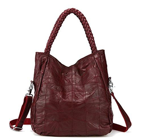 Jack&Chris Soft Leather Tote Handbags for Women Foldable Satchel Purse Shoulder Crossbody Bag, WB512 (red) by Jack&Chris