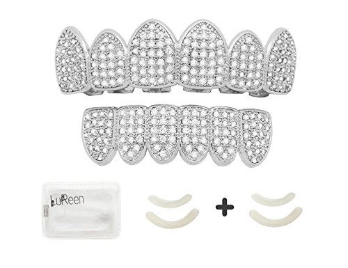 Lureen 14k Gold Silver Pave Full CZ Grillz 6 Top and Bottom Hip Hop Teeth Sets (Silver Set) by Lureen (Image #7)'