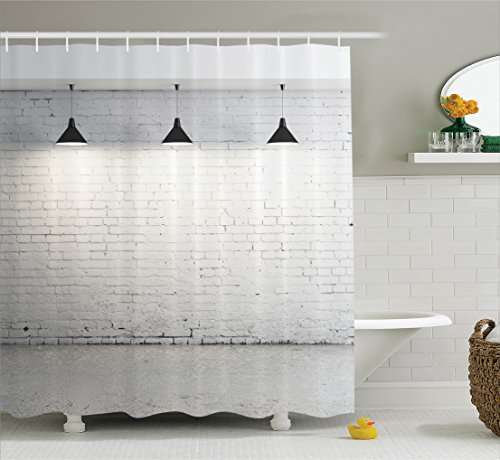Designer Fabrics Curtains (Abstract Home Decor Shower Curtain Set by Ambesonne, Brick Concrete Room with Three Ceiling Lamps Modern Minimalistic Home Decoration, Bathroom Accessories, 84 Inches Extralong, Black and Grey)