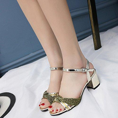Verano Mujer zapatos de cuero Sandalia de verano boca de pescado,39 nude Gold
