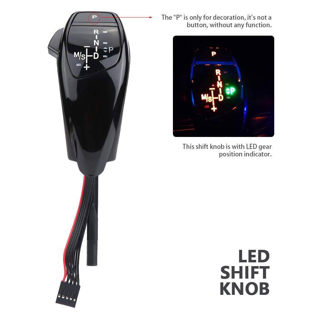 LED automatic electronic shift head,Keenso LHD Automatic Gear Shift Knob for BMW E90 E91 E93 E81 E82 E84 E87 E88 E89 Carbon Fiber