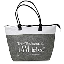 I Am the Boss Zippered Fabric Tote Bag, Gift for Women Execs, Leaders, Moms (Gray)