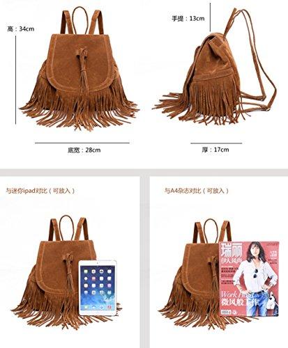 Fashion Women Outdoor Leather Casual Tassel Traveling Sunwel Shopper Brown Beach Bag Drawstring School Bag Shoulder PU Bookbag dwfvvUqTx