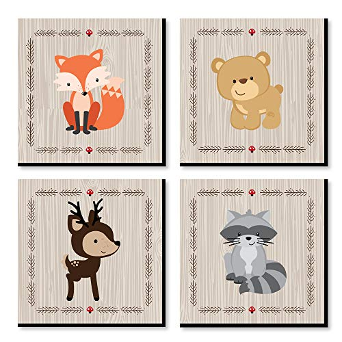 Woodland Creatures - Kids Room, Nursery Decor and Home Decor - 11 x 11 inches Nursery Wall Art - Set of 4 Prints for Baby's Room ()