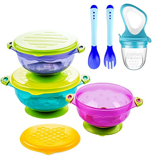 Bowl Food Feeder - Suction Baby Bowls for Toddlers, Baby Feeding Bowls Set with Fresh Food Feeder and 2 Hot Safe Baby Spoon and Fork - Perfect Baby Shower Gift Set of 3 Stay Put Suction Bowls with Lids -BPA Free
