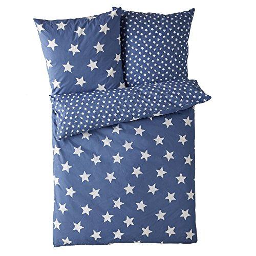 Wende-Bettwäsche Sterne mit Reißverschluss 100% Baumwolle blau 135 x 200