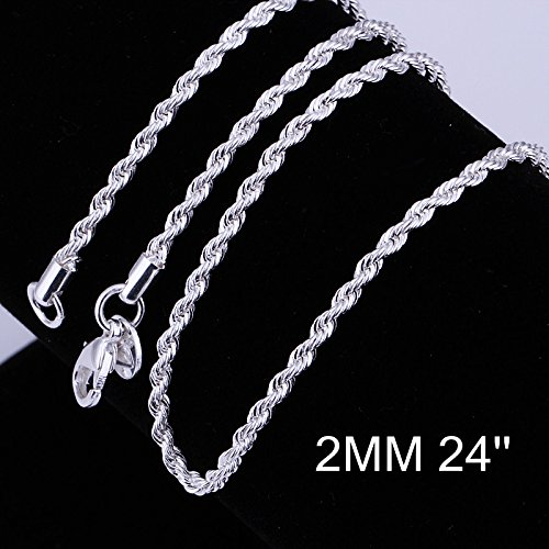Zhiwen Fashion 925 Sterling Silver 2MM Distort Rope Chain Snake Thin Chain Necklace Chain for Women Men (16-24 in) (24 inch)