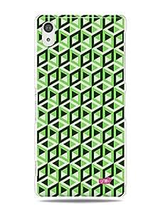 GRÜV Premium Case - 'Green 3D Cube Art Geometric Abstract' Design - Best Quality Designer Print on White Hard Cover - for Xperia Z2