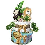 Safari Diaper Cake for a Baby Shower Gift - Gender Neutral...