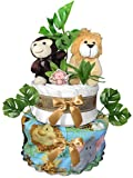 Safari Diaper Cake for a Baby Shower - Gender Neutral Centerpiece
