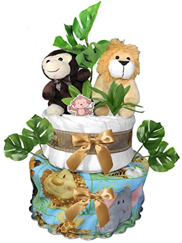 Safari Diaper Cake for a Baby Shower Gift - Gender Neutral Centerpiece from Sunshine Gift Baskets
