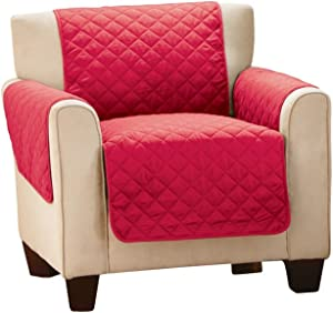 Collections Etc Reversible Quilted Furniture Protector Cover, Red/Cream, Chair