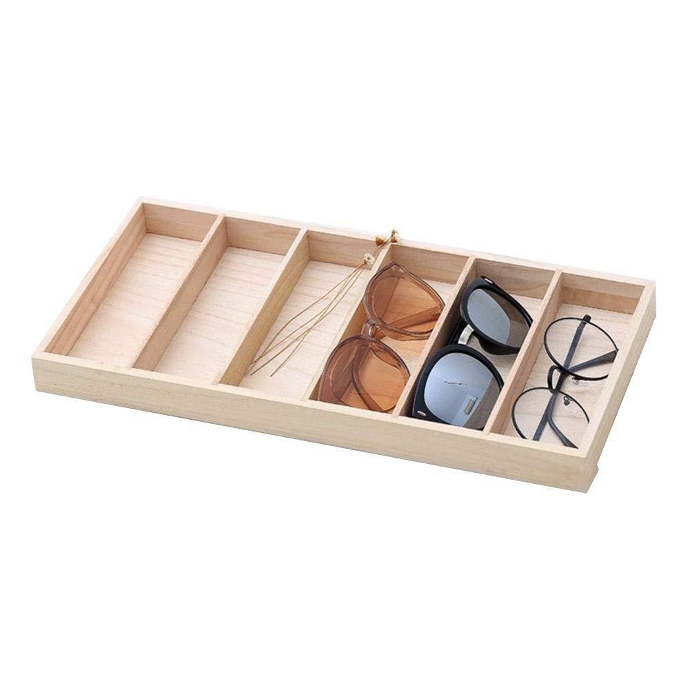 RecoverLOVE 6 Compartimentos Organizador de Gafas de Madera Modern Brown Eyewear Display Case Open Top Sunglasses Display Holder para Mujeres Hombres