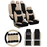 FH GROUP FH-FB030115 + F14407 Combo Set: Light & Breezy Cloth Seat Cover Set Airbag & Split Ready W. FH2033 + F14407 Carpet Floor Mats Beige / Black- Fit Most Car, Truck, Suv, or Van FH Group Seat Covers