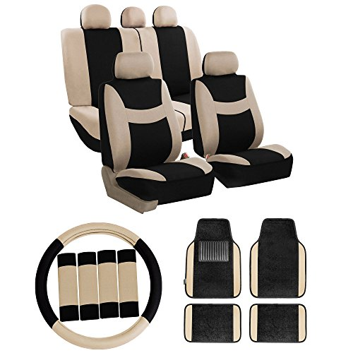 [해외]FH GROUP FH-FB030115 콤보 세트 : 라이트 & amp; /FH GROUP FH-FB030115 Combo Set: Light & Breezy Cloth Seat Covers (Airbag & Split Ready) W. FH2033 + F14407 Carpet Floor Mats - Fit Most Car, Truck, Suv, or Van