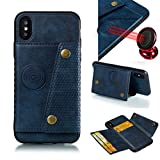 iPhone XS MAX with Card Holder and Magnetic car Back and Kick Stand Full Body Armor Apple iPhone 2018: - (Blue