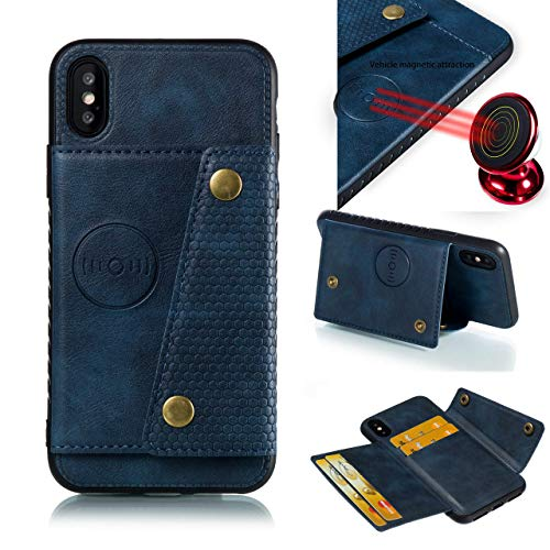 iPhone XS MAX with Card Holder and Magnetic car Back and Kick Stand Full Body Armor Apple iPhone 2018: - (Blue, 6.5 inches)