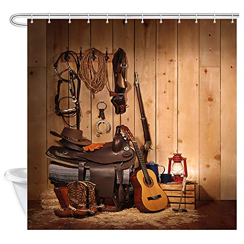 NYMB American Western Showre Curtain for Bathroom, West Rodeo Cowboy Boots Hat and Guitar in Country Wooden House Bath Curtains, Waterproof Fabric Shower Curtains 12PCS Hooks Included, 69X70 in Brown