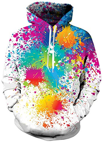 Male Laides Winter Fuzzy Hoodies Creative Tie Dye Rose Red Teal Blue Green Paint for Women Men Thick Round Neck Stylish Hoody Pullover Jacket with Pockets 90's Party Costume Rave ()