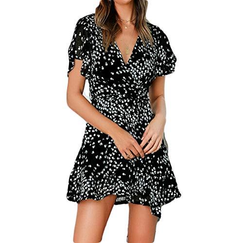 Vicky Wheeler Women's Summer Boho Polka Dot Holiday Beach Mini Dress Short Sleeve V-Neck Ruffle Chiffon Party Dress (L, Black)