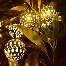 LED Solar Globe String Lights, 12ft 10 LEDs Moroccan Orb Ball, Waterproof Ambiance Lighting, 3000K Warm White, Starry Fairy Lights for Outdoor Garden, Yard, Patio, Party, Home Decoration, Christmas(Moroccan Ball Warm-White)