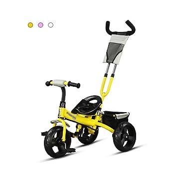 Triciclo para niños de 2-6 años de edad, tamaño bebé, bebé, bicicleta, puede empujar el carro (Color : Yellow) : Amazon.es: Hogar
