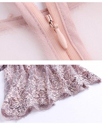 Cotylédons Robes Courtes En Dentelle Pour Les Femmes 3/4 Col Rond Manches Taille Haute, Une Robe De Ligne