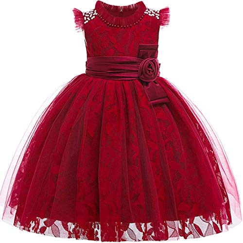 Baby Girls 3D Flower Embroidery Silk Princess Dress for Wedding Party Kids Dresses,WinRed,5 -