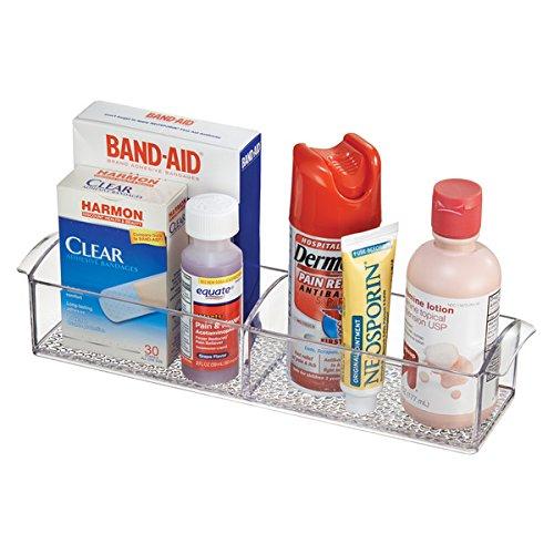 mDesign Bathroom Medicine Cabinet Organizer, for Vitamins, Medical Supplies, Makeup - Clear