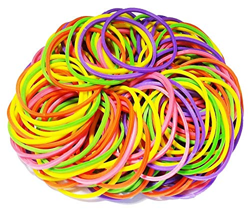 200Pcs 1.5 38mm Medium Size Assorted Multicolor Rubber Bands Bulk Elastic Wide Money Rubber Bands Ring Stationery Holder Sturdy Strong Stretchable Band Loop School Home Bank Office Supplies