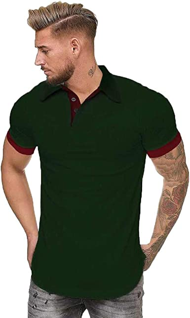 Camisa de Patchwork para Hombre, de Doble Color, Blusas de Manga Corta para Hombre - Rojo - XX-Large: Amazon.es: Ropa y accesorios