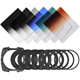 Neewer Graduated Filter Kit: (3)Graduated ND Filters(G.ND2,G.ND4,G.ND8)+(3)Graduated Color Filters(G.Grey,G.Orange,G.Blue)+(9)Metal Adapter Rings+(1)Square Filter Holder+(1)Filter Carry Pouch