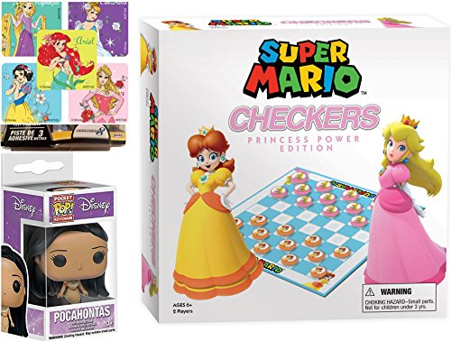 AYB Power Edition Checkers Collector's Edition Game Set Princess Peach & Daisy Go! Board game Super Mario + Pocohontas mini Figure & Princess Stickers Bundle -